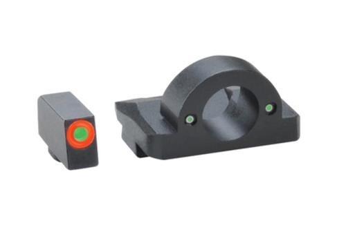 Ameriglo Ghost Ring U-RAP Night Sights, Glock 20/21/29/30/31/32/36/40/41, Green Fron, Orange Outline Green Rear