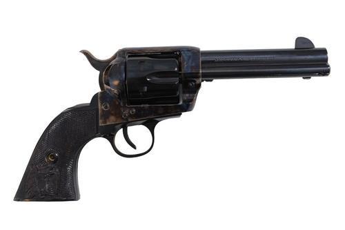 "Traditions 1873 Black Eagle 45LC, 4.8"", Black PVC Grips Blued, 6rd"