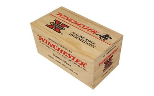 Winchester Super-X Wood Box, 22LR, 36gr, Copper Plated Hollow Point, 500rd/Wood Case (10 Boxes of 50rd)