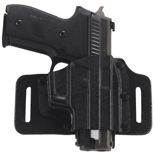 """Galco Tacslide Belt Holster, Fits S&W M&P 2.0 Compact 3.6"""" 9/40, M&P 2.0 Compact 9/40 4"""", M&P 9/40, M&P Compact 9/40, M&P Compact 9/40 ambi safety, Right Hand, Black Leather/Kydex"""