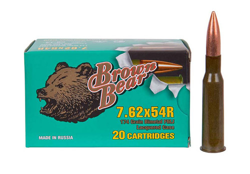 Brown Bear 7.62x54 Russian, 174gr, FMJ, Steel Cased, 20rd Box