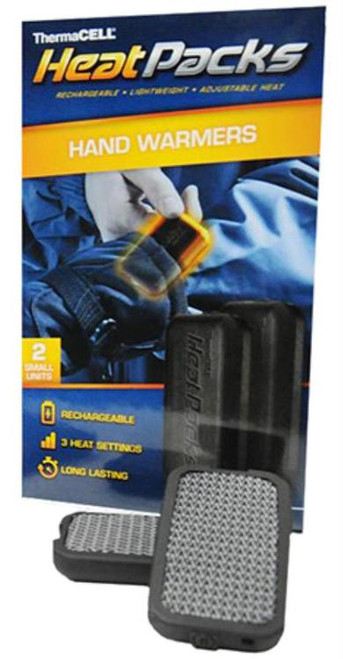 """Thermacell PAK-S Heat Packs Hand Warmers 2.9""""x1.6""""x.45"""" 2 Pack Black"""