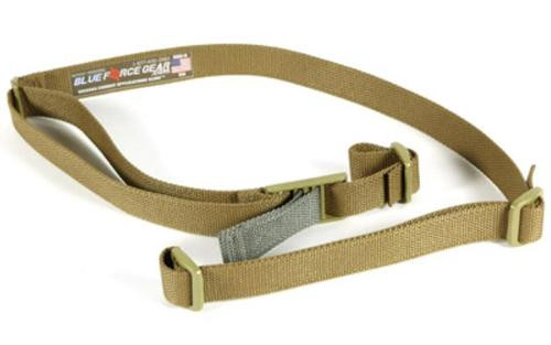 Blue Force Gear Sling, Molded Acetal Adjuster, No Quick Release, Attached with TriGlide instead of Loop Lock, 2-Point Combat Sling, Coyote Brown