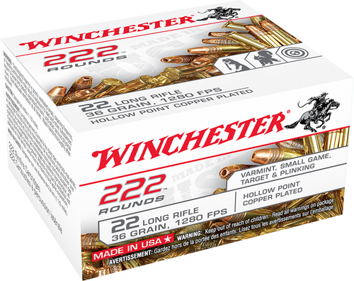 Winchester 22LR 36gr, Copper-Plated Hollow Point, 222rd Bulk Pack