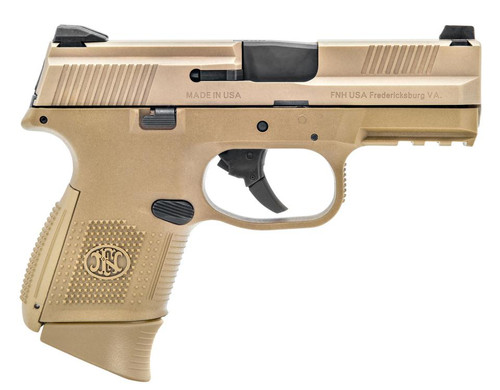 "FN FNS Compact 9mm 3.6"", Flat Dark Earth, Fixed 3-Dot Sights, No Manual Safety, 10rd"