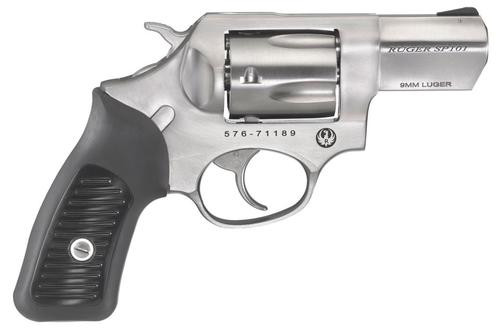 "Ruger SP101 9mm, 2.25"" Stainless Barrel, Rubber Grips, Moon Clips, 5rd"