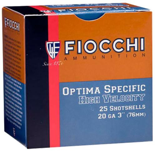 "Fiocchi High Velocity Shotshells 20 Ga, 3"", 1-1/4oz, 4 Shot, 25rd/Box"