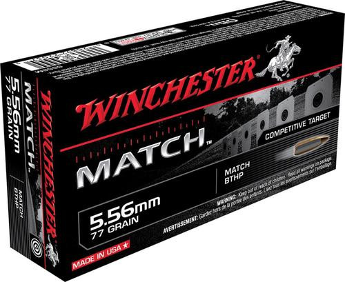 Winchester Ammunition, Match, 556NATO, 77Gr, Boat Tail Hollow Point, 20 Rounds Per Box
