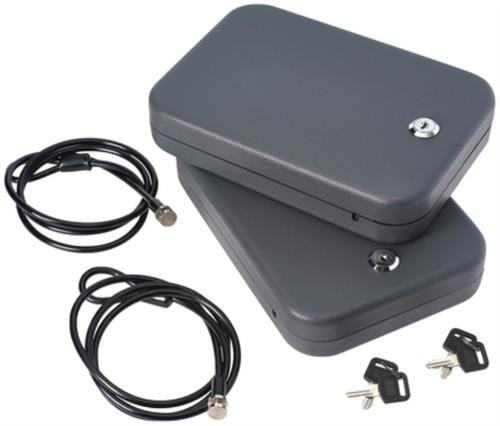 """SnapSafe Lock Box, Large, 9.5"""" x 6.5"""" x 1.75"""", 2 Pack, Keyed Alike, 16 Ga Steel, Cable Included, Black"""