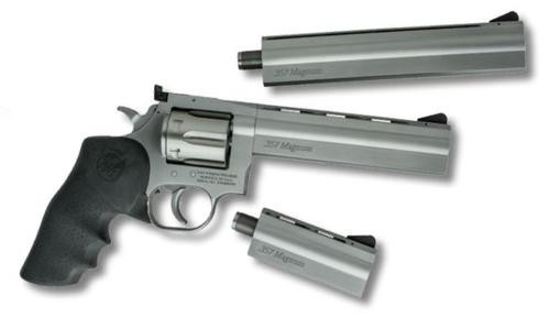 """Dan Wesson, 715, Double Action/Single Action Full Size Revolver, 357 Magnum, 4"""" Barrel, Steel Frame, Stainless Finish, Rubber Grips, AS 6Rd"""