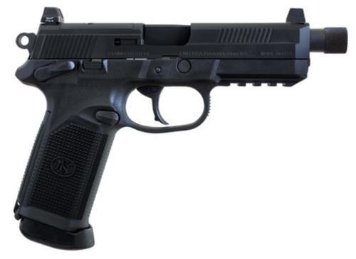 "FN America, FNX-45 Tactical, DA/SA, Semi-automatic, Full Size Pistol, 45 ACP, 5.3"" Threaded Barrel, Polymer Frame, Matte Black, Suppressor Height Night Sights, 10Rd, 2 Magazines, Fired Case, Manual Safety, Optics Ready"