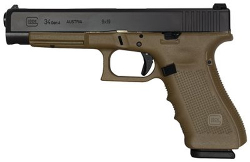 "Glock G34 Gen 4, 9mm, 5.3"" Barrel, OD Green Grip, Black Slide, 17rd"