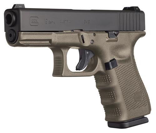 """Glock, 19 M.O.S., Semi-automatic, Striker Fired, Compact, 9mm, 4.02"""", Olive Drab Green, Interchangeable, 15Rd, 3 Mags, Fixed Sights, Polymer, Matte"""