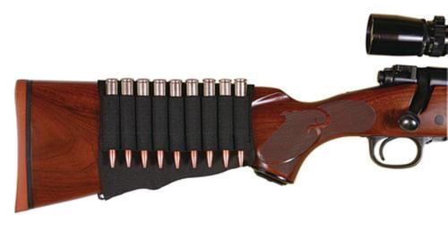 Allen Stock Rifle Cartridge Holder, Black Neoprene, 9rds
