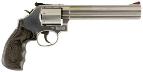 "Smith & Wesson 686+, 357 Magnum, 7"", 7rd, Wood Grip, Stainless Steel"