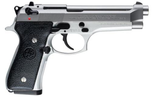 "Beretta 92FS, 9mm, 4.9"" Barrel, Black Synthetic Grip, Stainless Steel, 15rd"