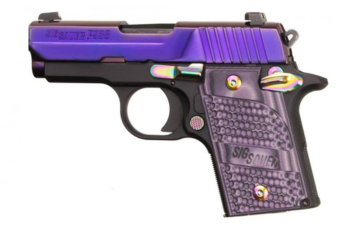 "Sig P938 9mm, 3"" Barrel, Purple Purple Lava Finish, Purple G10 Piranha Grips, 6rd"