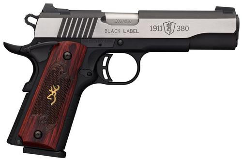 "Browning Black Label Medallion Pro 1911, .380 ACP, 4.25"", 8rd, Rosewood Grips"