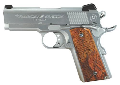 "American Classic Amigo 1911, 45 ACP, 3.5"", 7rd, Hardwood Grips, Hard Chrome"