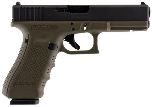 "Glock G17 Gen4 MOS 9mm, 4.48"", 17rd, FS, OD Green Frame"