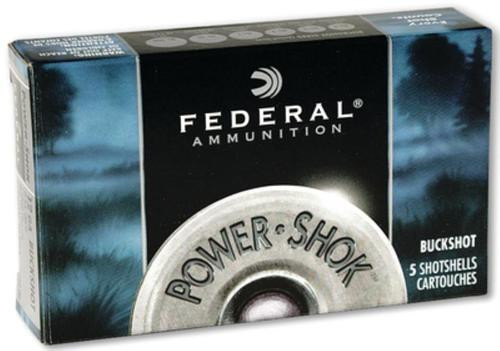 "Federal Power Shok Buckshot 12 Ga, 2.75"", 9 Pellets, 00 Buck Shot, 5rd Box"