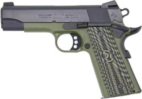 "Colt1911 Lightweight Commander .38 Super, 4.25"" Barrel, Green Frame/Blued Slide 8rd Mag"