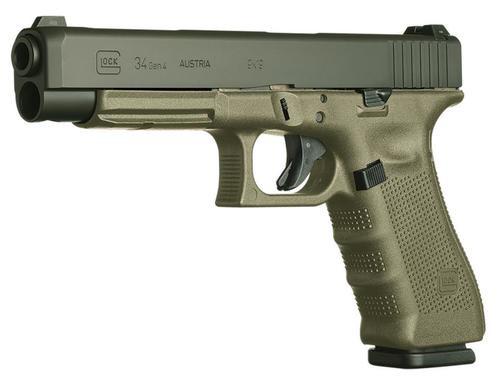 """Glock G34 G3 9mm, 5.31"""", 10rd, OD Green Frame, Black Slide"""