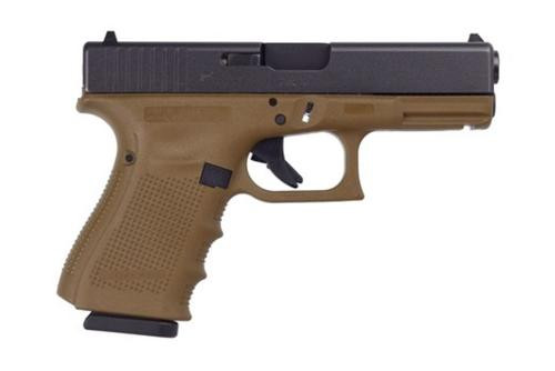 "Glock G19 G4 9mm, 4.01"", 10rd, Fixed Sights, Flat Dark Earth Frame"