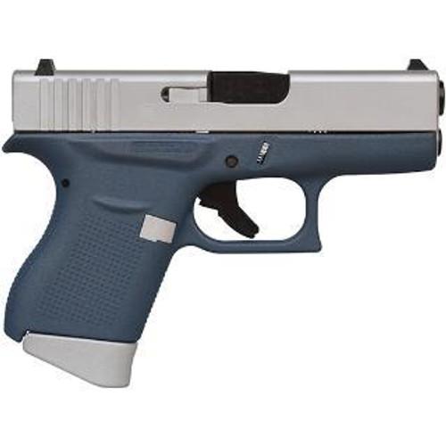 "Glock G43 9mm, 3.39"", 6rd, Fixed Sights, Blue/Aluminum Finish"