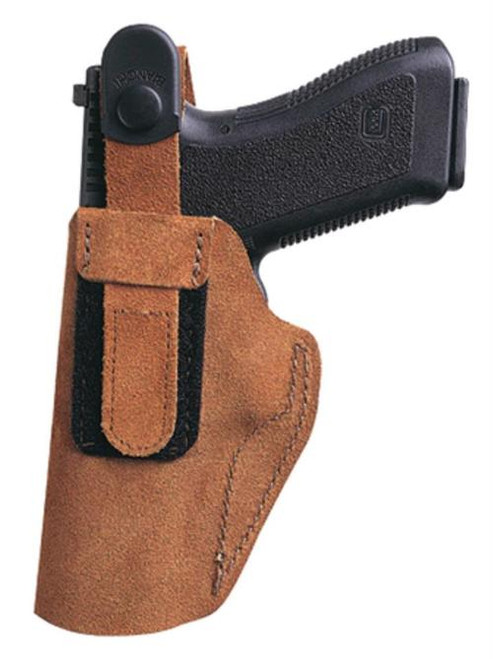 """Bianchi 6D Adjustable Thumb Break Waistband Holster 3"""" Barrel Revolver Size 1 Rust Suede Right Hand"""