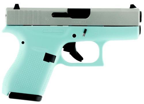 """Glock G42 .380 ACP, 3.24"""", 6rd, Robin Egg Blue Frame, Silver Slide"""