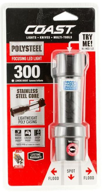 COAST Polysteel 400 300 LUM Flashlight, AAA-4, Black