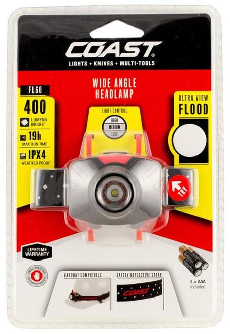 COAST FL60 Headlamp, 300 Lumens, AAA-3, Red/Black