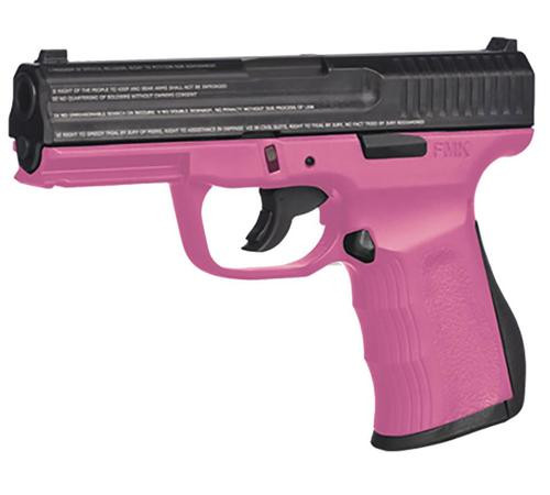 "FMK 9C1 G2 FAT Engraved 9mm, 4"", 14rd, Drop Free Mag, Pink Frame"
