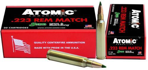 Atomic Match 223 Remington/5.56 NATO 77 gr, Tipped MatchKing 20rd Box