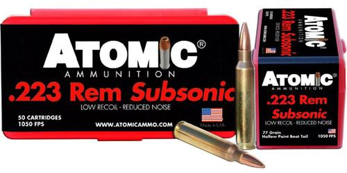 Atomic Subsonic 223 Remington/5.56 NATO 77 gr, HPBT, 50rd Box
