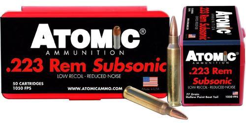 Atomic Subsonic 223 Rem/5.56 NATO 77 gr, HPBT, 50rd Box