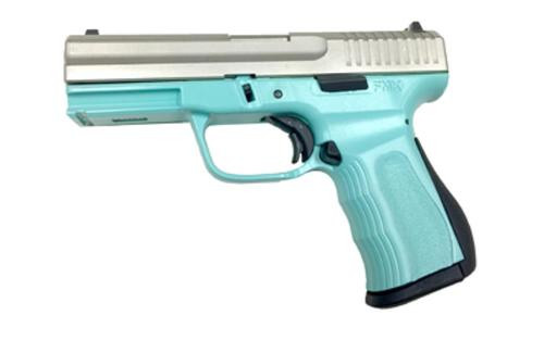 "FMK 9C1 G2 9mm, 4"", 10rd, Light Blue Polymer Frame, Silver Slide"