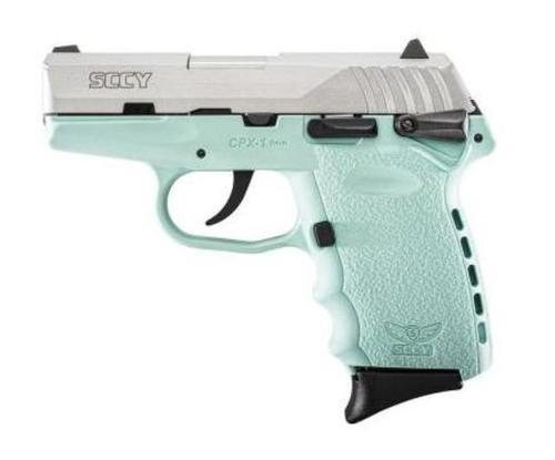 """SCCY CPX-1 9mm, 3.1"""", 10rd, Robin Egg Blue Frame, SS Slide"""