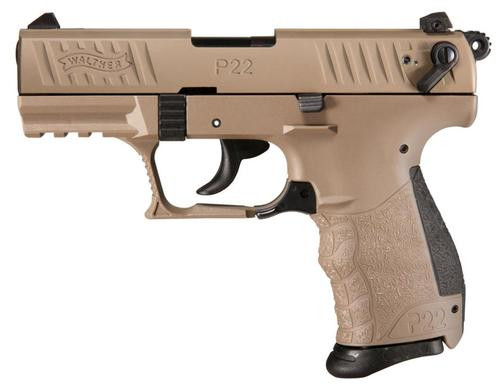 "Walther P22 QD 22 (LR) 3.42"" Barrel Flat Dark Earth 10rd Mag"