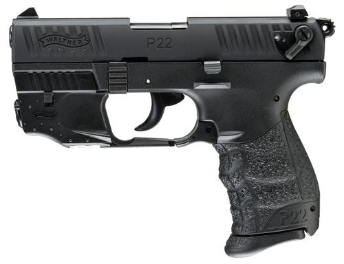 "Walther P22 QD, Laser 22LR 3.42"" Barrel Black 10rd Mag"