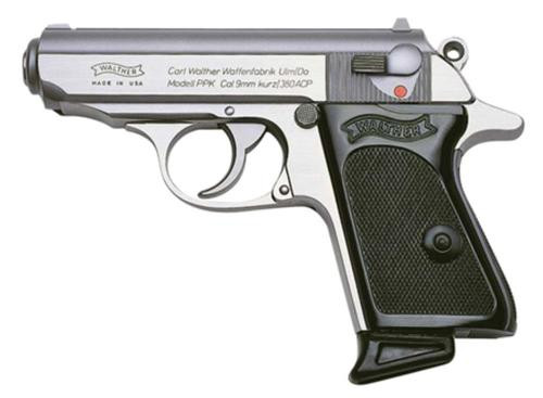 "Walther PPK .380 ACP 3.3"" Barrel Stainless Finish 6 Round, 2 Mags"