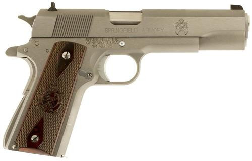 "Springfield 1911 Mil-Spec 45 ACP 5"" SS Barrel Combat 3-Dot Sights SS Frame/Slide 7rd Mag - CA Compliant"
