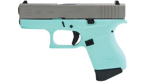 "Glock G43 9mm 3.4"" Barrel Robin Egg Blue, Ti Finish Slide 6rd Mag"