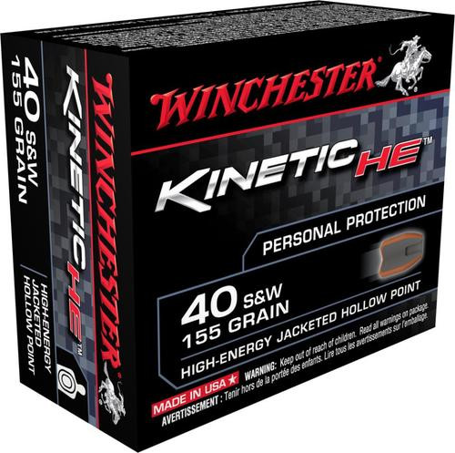 Winchester Kinetic High Energy 40 S&W 155gr, Jacketed Hollow Point, 20rd