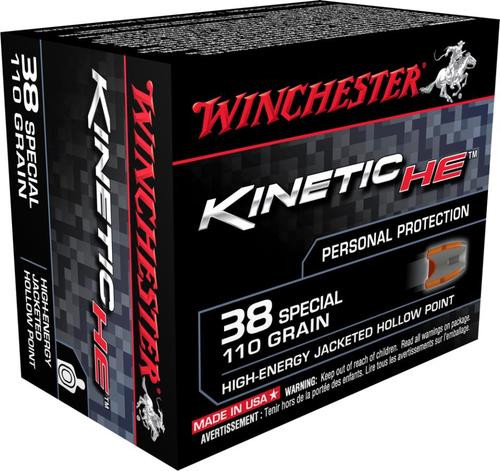 Winchester Kinetic High Energy 38 Special 110GR Jacketed Hollow Poiint, 20rd Box