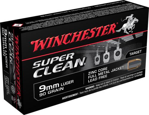 Winchester Ammunition, Spr Cln, 9mm, 90Gr, Full Metal Jacket, 50rd Box