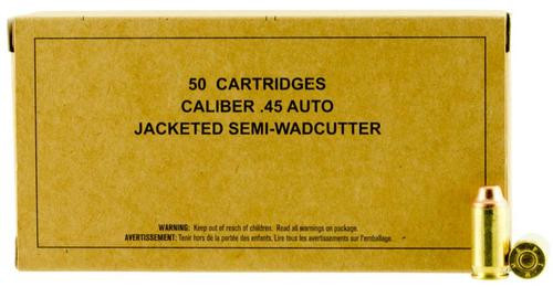 Winchester Service Grade 45 ACP 185gr, Jacketed Semi-Wadcutter, 50rd Box