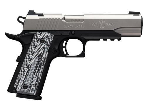 Browning 1911-380 Black Label Pro with Rail Single 380 ACP, SS, Rail