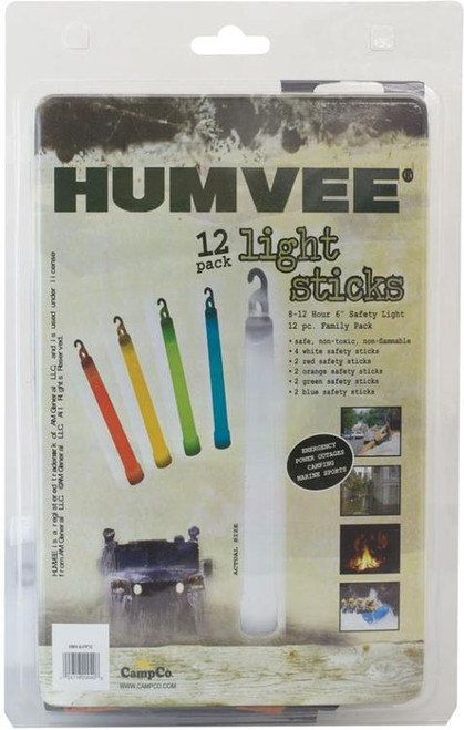 Campco Humvee Accessories 12 Piece Light Stick Family Pack White/Blue/Red/Gre